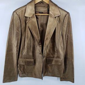 Tribal Gold Leather Jacket (OBO)
